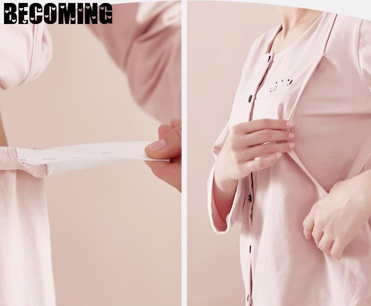 Breastfeeding Nightgown Maternity Pajamas Big Long Sleeve Pregnant Nightwear Nurse Sleeping Pregnancy Big Size Sleepwear enlarge