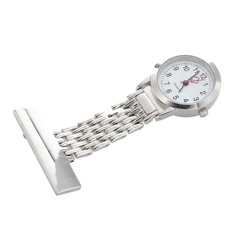 Broche plateado de enfermera bolsillo pendiente reloj de cuarzo