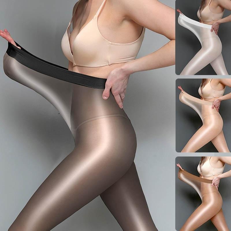 Medias elásticas sin entrepierna 8D, pantis brillantes, brillantes y brillantes, sin gancho, sexys