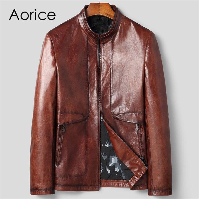 Aorice الرجال حقيقية جلد الغنم سترة معطف الذكور العلامة التجارية الجديدة ريال جلد طبيعي و الجلد المدبوغ جاكيتات معاطف MT137