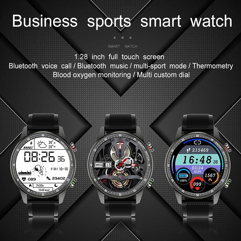 Bluetooth Voice Call Smart Sports Watch IP67 Waterproof Body Temperature Heart Rate Blood Pressure Smartwatch MenFitness Watches