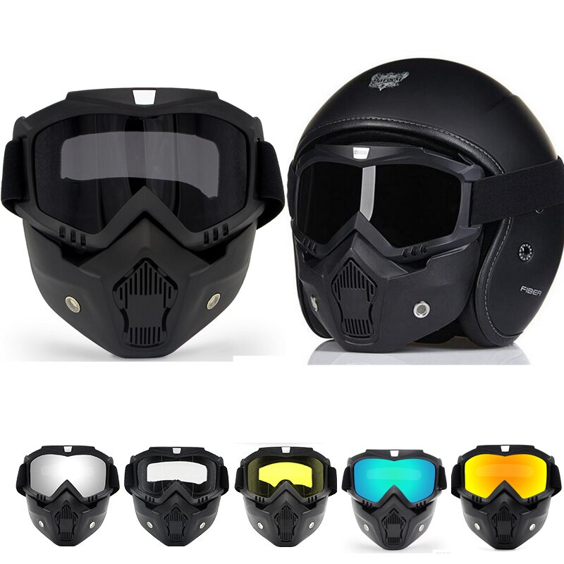 Motorcycle Glasses Motocross Motorbike Detachable Goggles UV Protection Ski Bike for Halley Open Face Helmet Mask MX ATV Moto vintage motorcycle motocross goggles pilot motorbike mx flying goggles leather glasses atv retro helmet for cycling pit bike