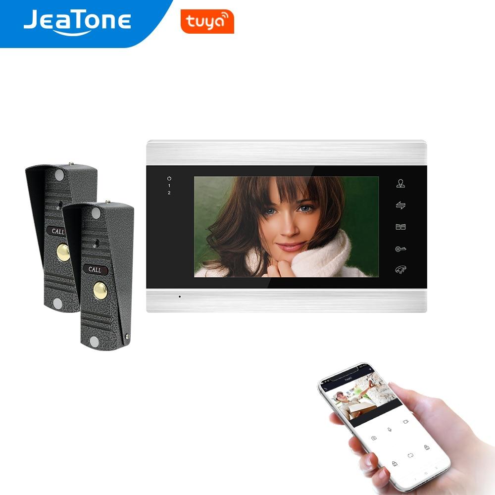Jeatone واي فاي تويا 7 بوصة فيديو باب الهاتف الداخلي مع 2 قطعة 720P جرس الباب نظام التحكم في الوصول مع فتح عن بعد ، سجل الحركة