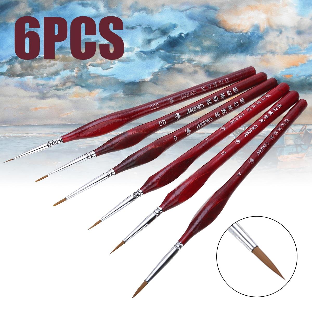 6Pcs Paint Brush Set Extra Fine Detail Brushes Artist Miniatures Model Maker Tool for Oil Painting Gouache