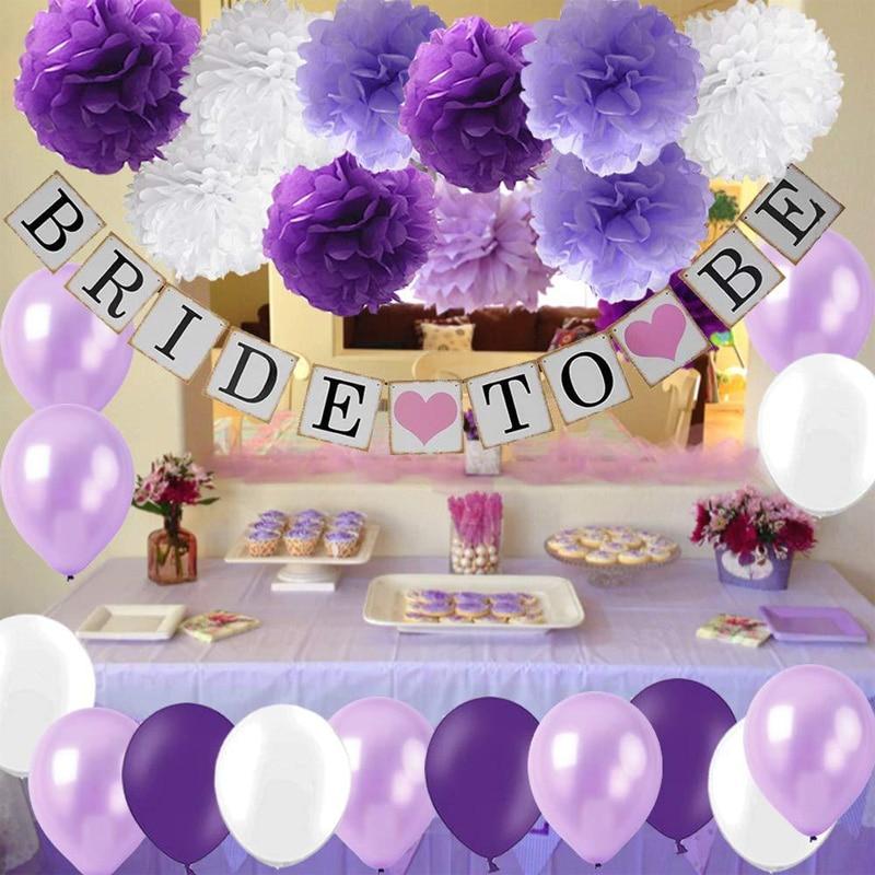 Be Be-زينة الزفاف ، بالون اللاتكس الأرجواني ، اللافندر ، ورقة بوم بوم ، لوازم الذكرى السنوية للزهور
