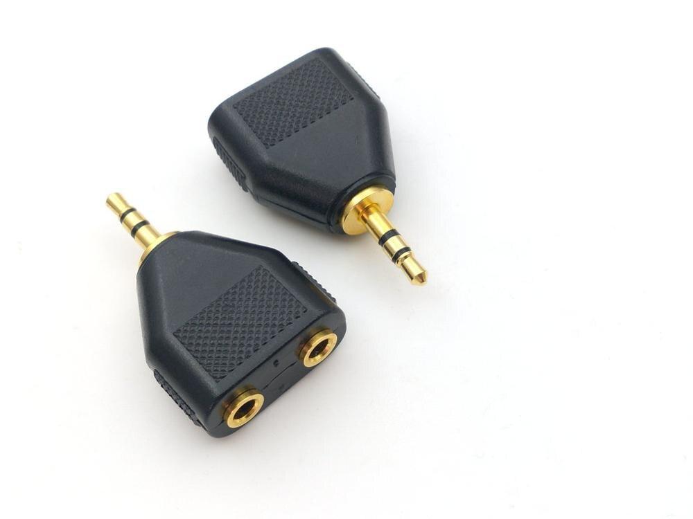 1 pçs cobre ouro estéreo 3.5mm 1 macho para 2 fêmea jack áudio y divisor adaptador de fone de ouvido