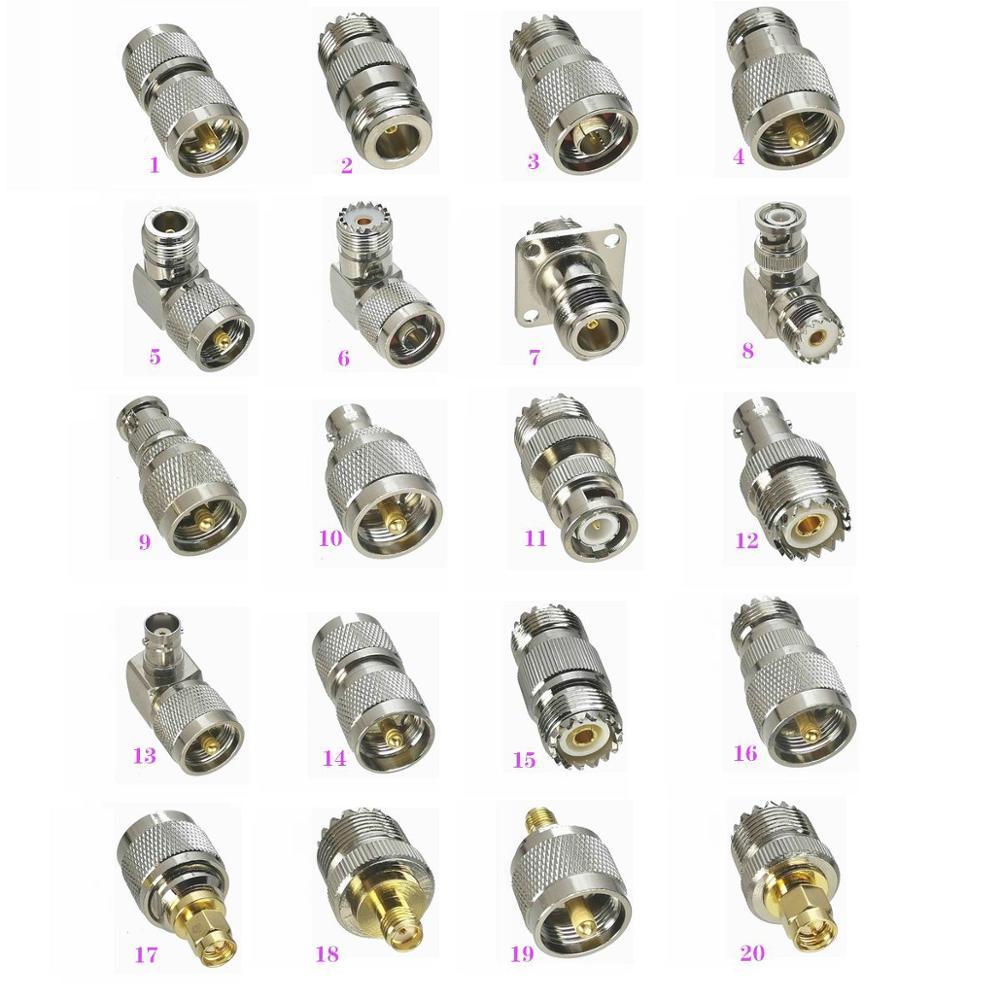 1 Uds UHF PL259 SO239 a N / BNC / UHF / SMA enchufe macho y hembra jack Adaptador Coaxial RF conector convertidor de prueba