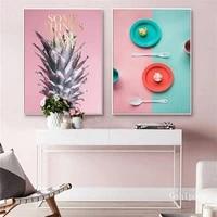 Toile de table coloree  peinture dart moderne  decor de maison doux  affiches dart murales nordiques pour salle a manger et cuisine