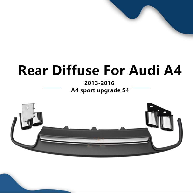 Kit de lengüeta para difusor trasero, placa de deslizamiento para tubo extremo de parachoques, punta de silenciador, estilo S4 para Audi A4 Sline 2013 2014 2015 2016