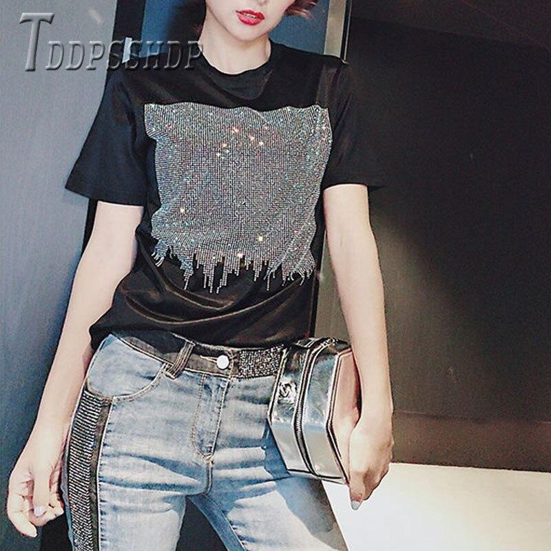 2019 Color negro caliente de perforación de manga corta de las mujeres Camiseta de cuello redondo camisetas femeninas