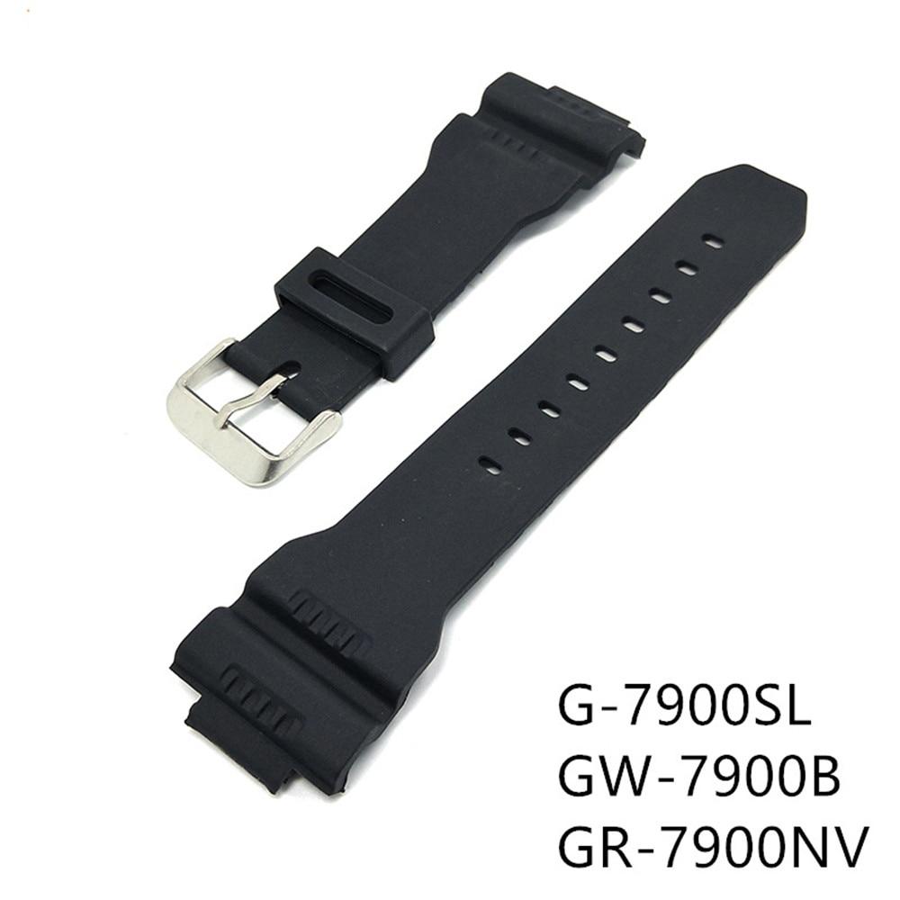 Negro PU banda de reloj de correa para Casio G Shock G-7900SL GW-7900B GR-7900NV deporte reemplazo correa de reloj de pulsera Accesorios