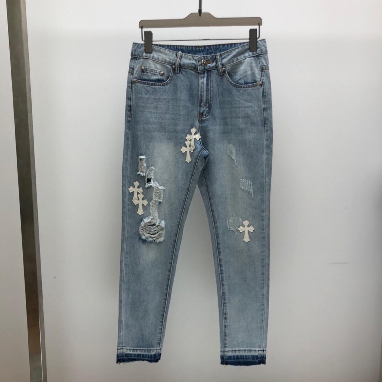 المرأة بسط ممزق نحيل السائق التطريز طباعة جينز ضيق دمرت حفرة مسجلة الدينيم خدش جودة كامل طول الجينز