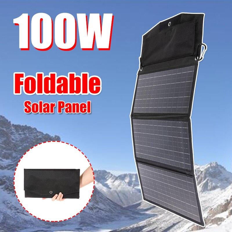 100 واط لوحة طاقة شمسية قابلة للطي حقيبة في الهواء الطلق 18 فولت شحن USB مزدوج مجلس شاحن سريع قوة البنك بطارية الطوارئ للهاتف المحمولة