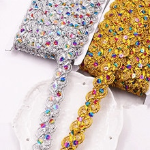 Bande en dentelle pailletée pour 12 ans   Bande en paillettes colorées, bande tressée 3D, motif de fleurs dorées, garniture pour vêtements, 2.7m de large