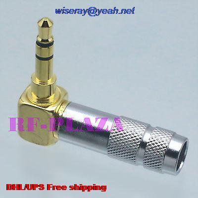 Conector de Metal Aux de Áudio e Vídeo 8 3.5 Milímetros 3 Pole Plugue Macho Estéreo Trs 90 Graus Angleangle-a3 Dhl – Ems 100pcs 1