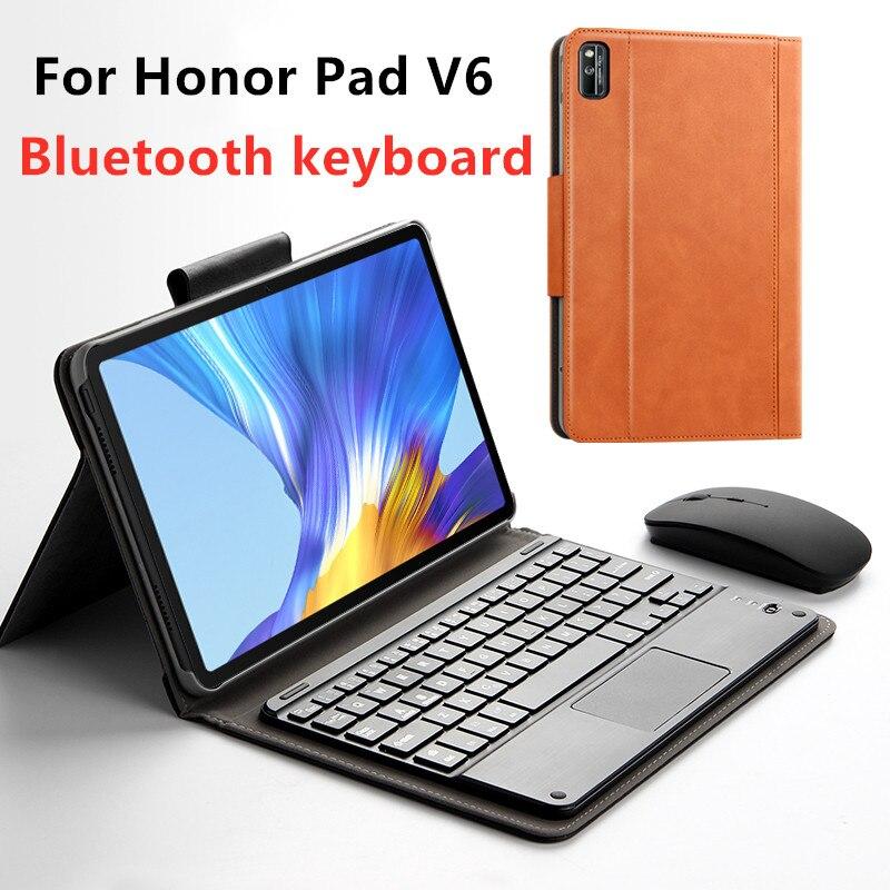 Caso para huawei honor pad v6 10.4 2020 KRJ-W09 al00 tablet protetor de teclado bluetooth capa protetora caso couro do plutônio mouse