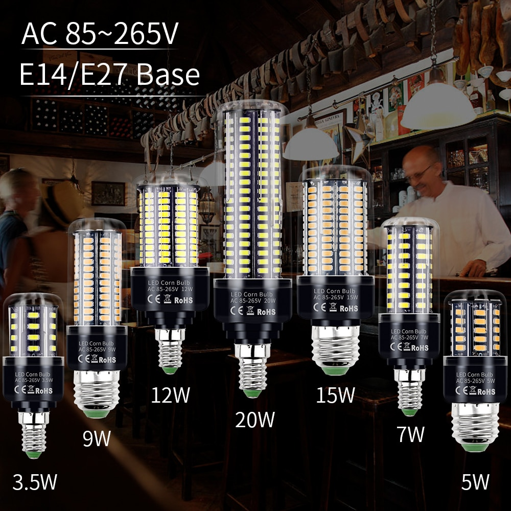 LED Corn Light E27 LED Bulb E14 Candle Bulb 3.5W 5W 7W 9W 12W 15W 20W Led Lamp B22 220V Bulb 5736 SMD 110V Lampada Home Lighting