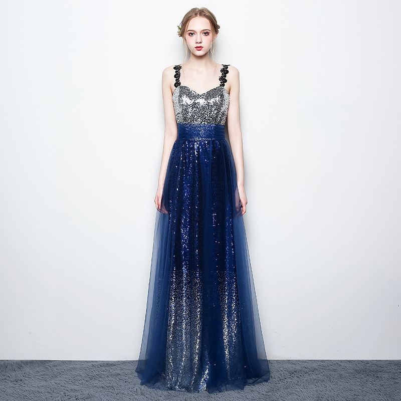 On Sale now !!! Shining Sequins Evening Dresses Sweetheart Sleeveless Lace-up Back Floor Length Prom Gowns