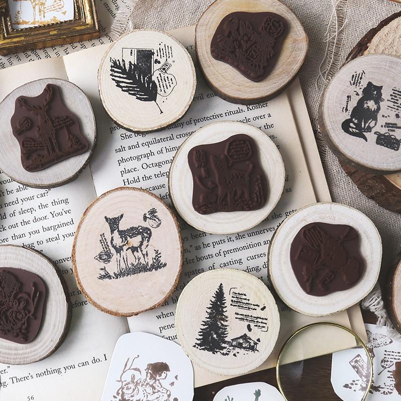 vintage round forest adventure wood stamp DIY wooden rubber stamps for scrapbooking stationery standard stamp