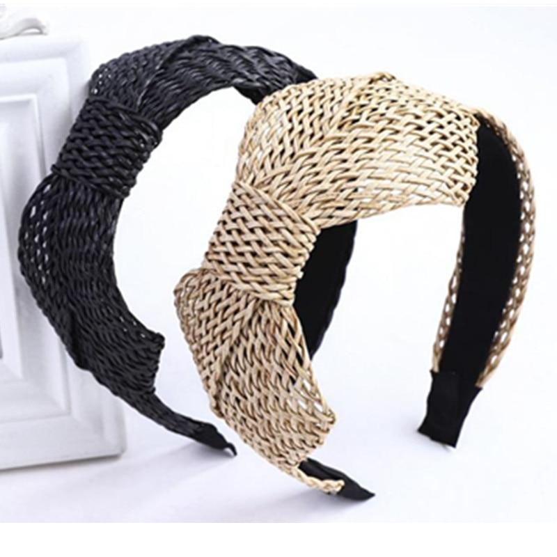 Diadema de ratán con lazo lateral de verano para mujer, accesorios para cabello que combinan con todo, gorras para adultos, diadema y lazo tejido