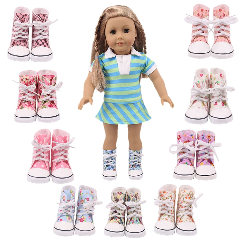7Cm Doll Boots Printed-flower Shoes For 18 Inch  American&43Cm Baby New Born Doll Child Birthday Gif
