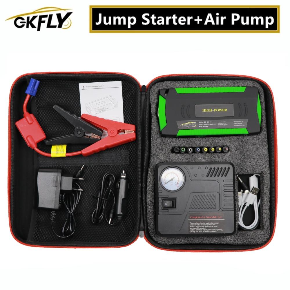 GKFLY 16000mAh سيارة الانتقال كاتب مضخة هواء ضاغط 12 فولت سيارة بدء C جهاز للبنزين الديزل شاحن بطارية السيارة الداعم