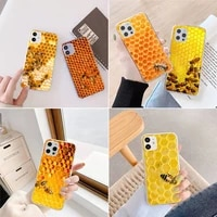 bumble bee honeycomb pattern phone case transparent for iphone 6 7 8 11 12 s mini pro x xs xr max plus