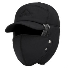 Trend Winter Thermal Bomber Hats Men Women Fashion Ear Protection Face Windproof Ski Cap Velvet Thic