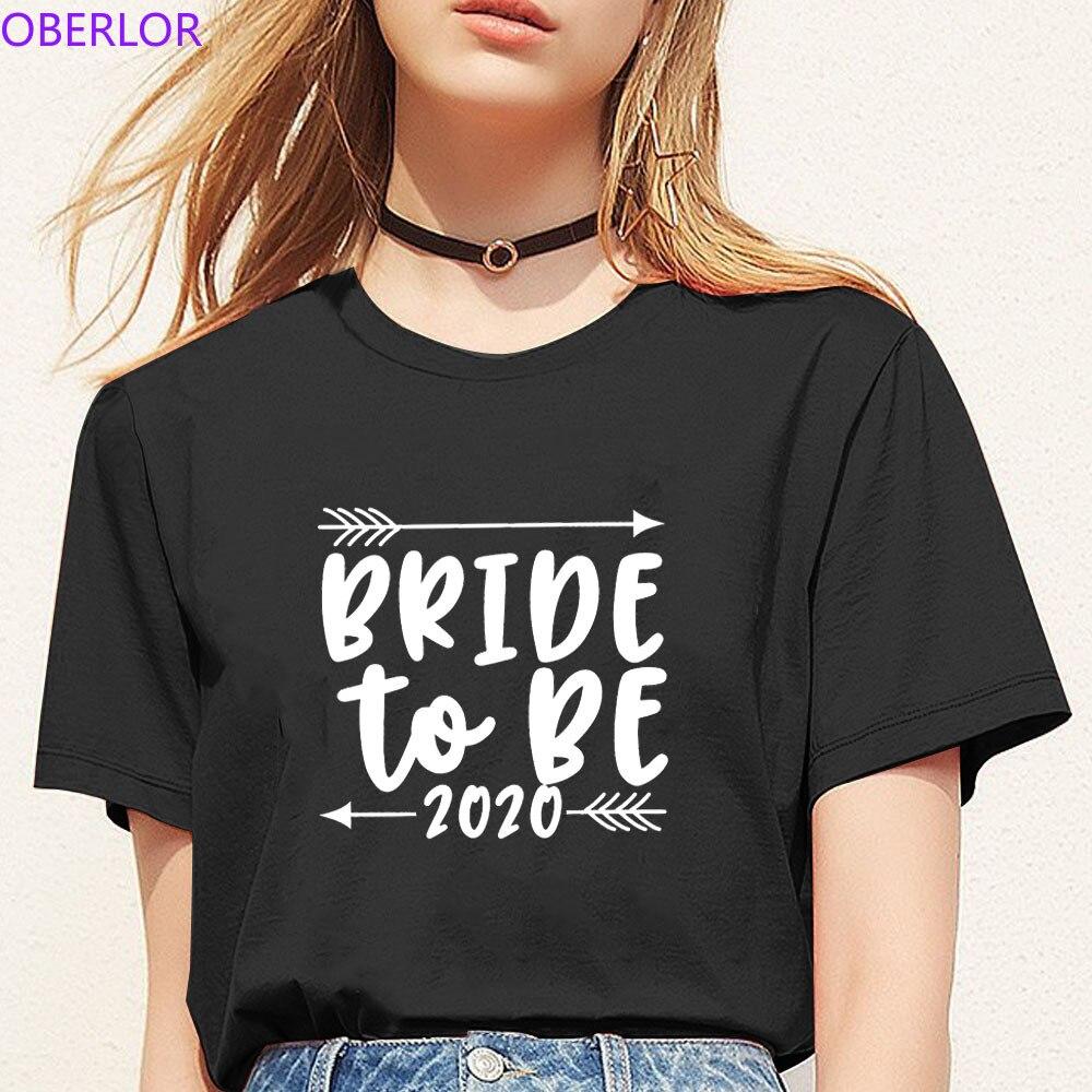 Bride To Be 2020 Letter Women Tshirt Wedding Short Sleeve O-Neck Vintage Tops Tee Shirts Femme Korean Style 90s T Shirt Ulzzang