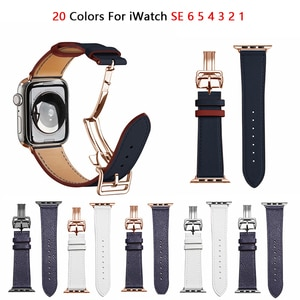 Folding Buckle Leather Strap For Apple Watch 6 Band iWatch Series SE 5 4 3 38mm 42mm Belt Bracelet Apple Watch Band 6 44mm 40mm