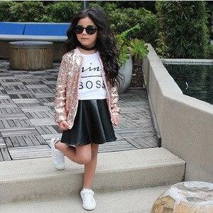 2020 HOT  TALLOLY Girls suit spring summer Boss letter white short-sleeved t shirt black PU skirt two-piece suit for children