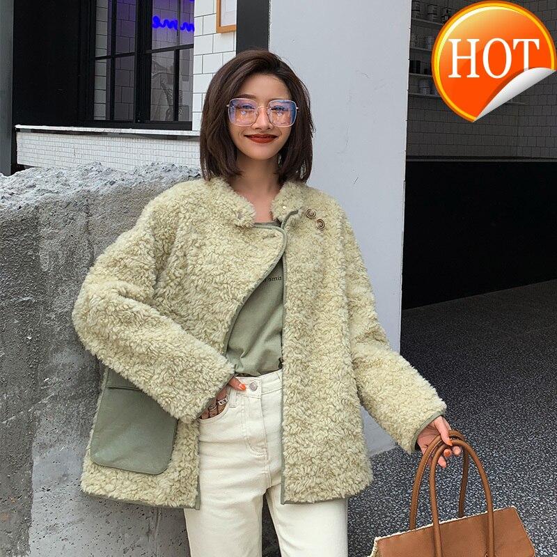 Manteau réel fourrure femmes mouton cisaillement hiver Manteau femmes réel fourrure veste pour femmes vêtements 2020 Manteau Femme ABM19001AW YY851