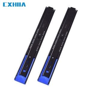 CXHIIA Black Cold-Rolled Steel Three-Stage Rebound Slide Rail, Cabinet Wardrobe Drawer Track Mute Damping Spring  1 Pair