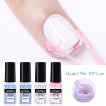 LEMOOC 8ml Peel Off Liquid Tape Fruity Mani cure Nail Art Latex Odor-free White Pink  Nail Cuticle Guard Nail Care Protector