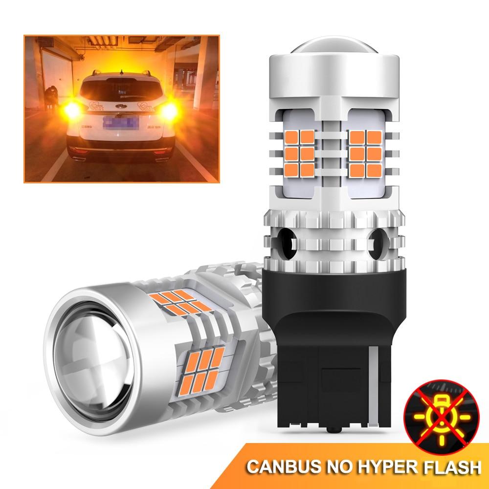 2 pces nenhum erro hyper flash turn signal lâmpada t20 7440 wy21w w21w led canbus 3020 smd luzes do carro 2200k âmbar amarelo 12v