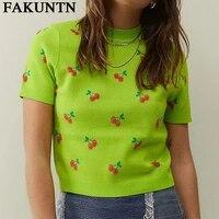 y2k 2021 summer new t shirt knit crop top women harajuku kawaii tops embroidery womens vintage tee short sleeve t shirt