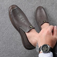 Summer Casual Slip On Shoes Genuine Leather Shoes Men Sneakers Fashion Jogging Shoes Outdoor Walking