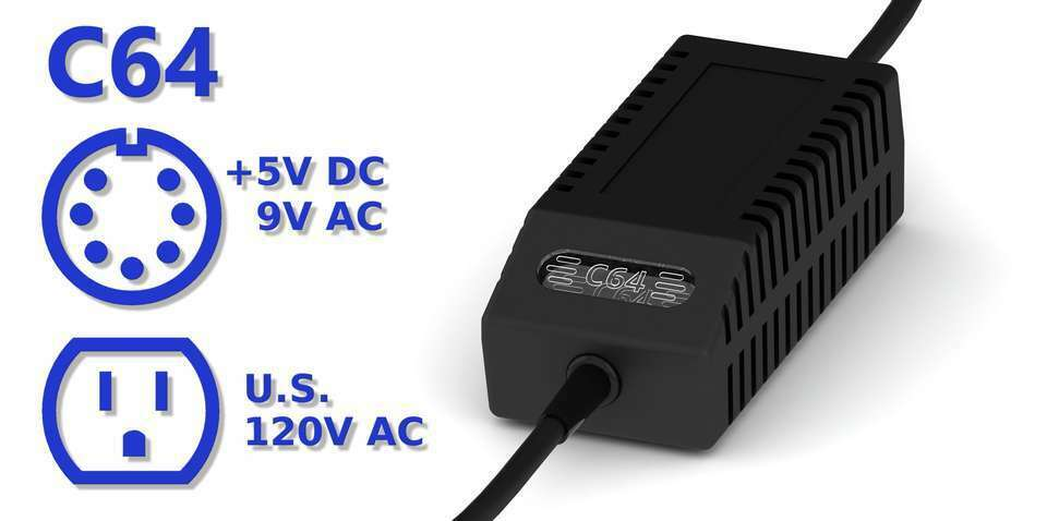 Commodore 64 Power Supply - C64 PSU, US Plug, LED