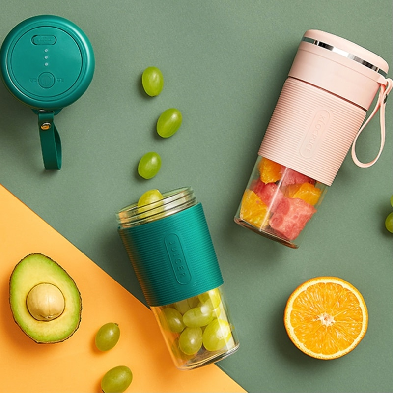 300ML Wireless Juicer with 4 Leaf Stainless Steel Blade Smoothie Maker Portable Juicer Cup