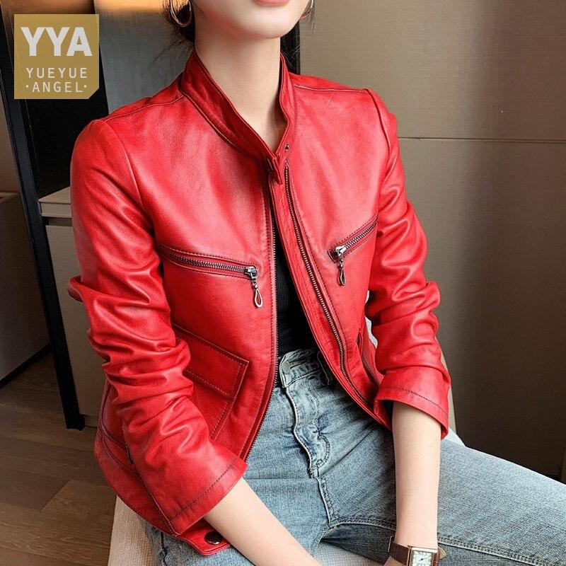 جديد إمرأة موضة الأحمر جلد الغنم سترة جلدية حقيقية قصيرة الوقوف طوق سليم صالح معطف جيوب موتو جاكت لركاب الدراجات النارية فاسق أبلى