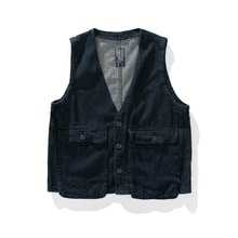 American high street fashion denim vest Street basic loose Multi Pocket V-neck denim jacket