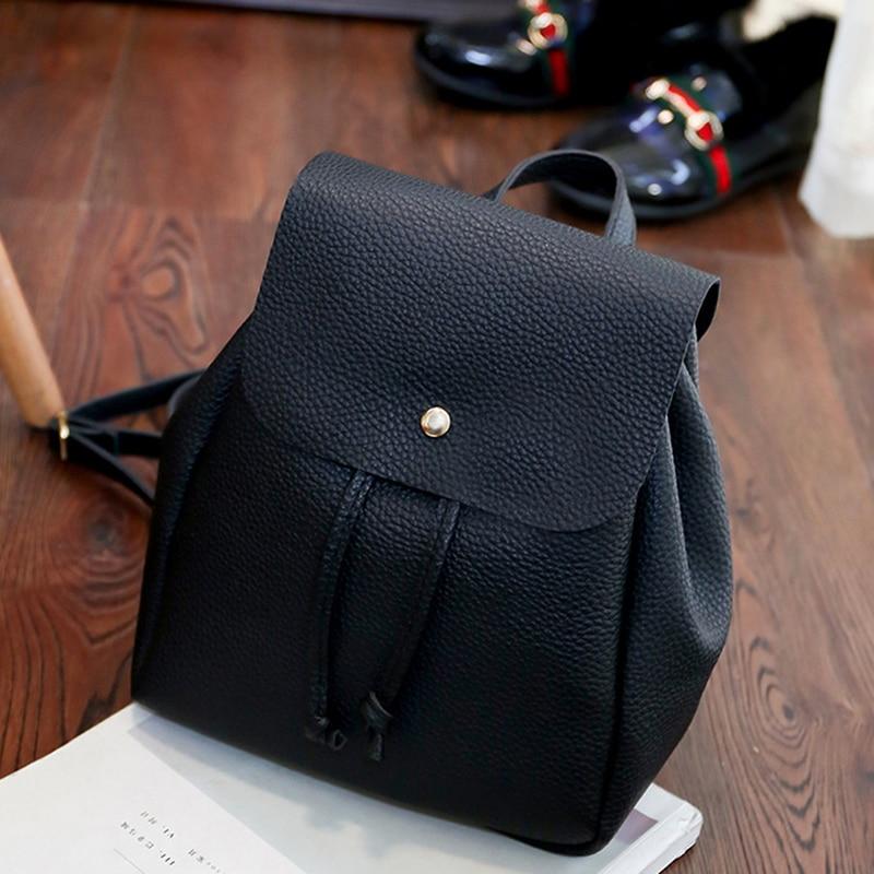 Fashion Lady Pu Leather Bag Women Backpack Hight Quality Vintage Backpacks Female Large Capacity Women's Shoulder Bags