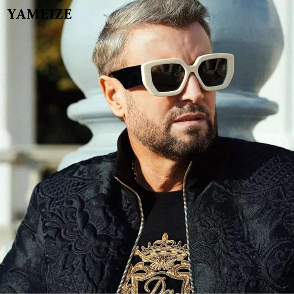 Солнцезащитные очки YAMEIZE мужские и женские, винтажные квадратные Роскошные брендовые дизайнерские солнечные очки в стиле панк с градиентом