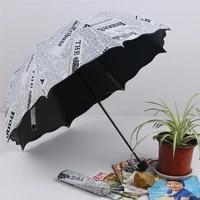 newspaper printing three folding umbrellas woman lady princess dome parasol sun rain umbrella flouncing folding lotus leaves