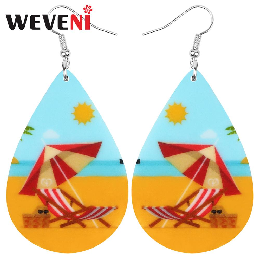 WEVENI Acrylic Teardrop Sunshine Parasol Beach Chair Earrings Drop Dangle Jewelry For Women Girl Teen Kid Party Charms Gift Bulk
