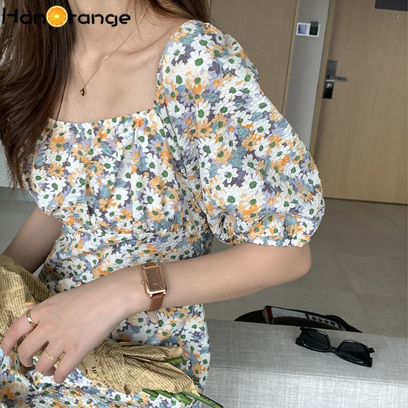 Pure Cotton Square Collar Floral Mini Dress Women 2021 Summer Chic Gentle Puff Sleeve Dress Pullover