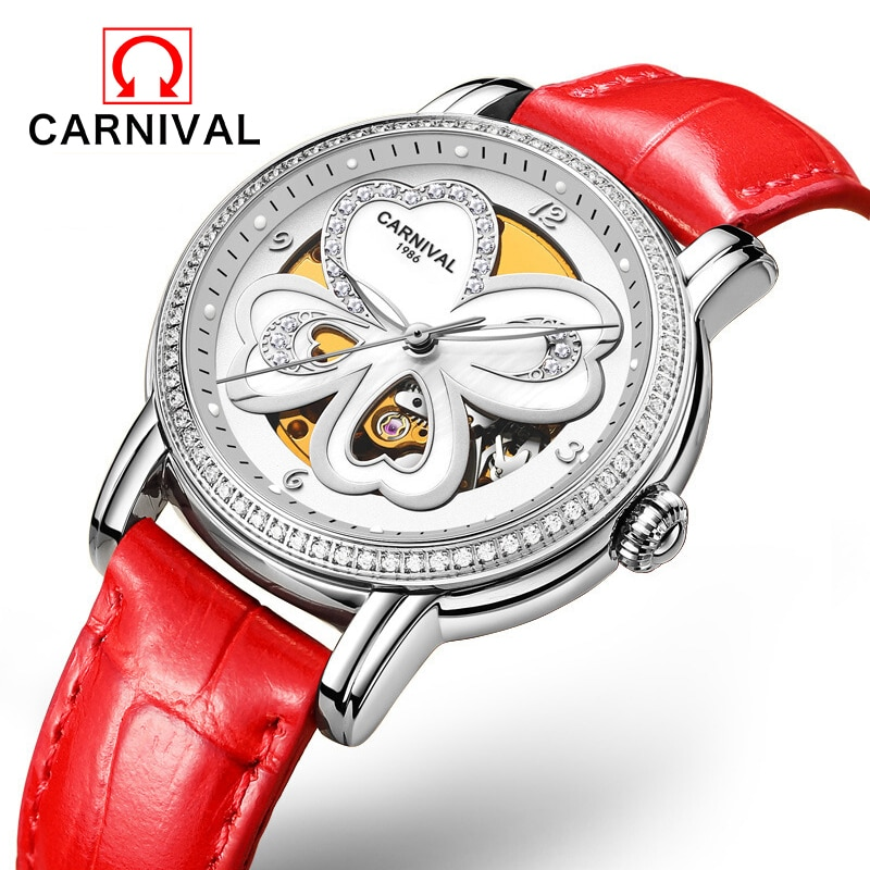 Carnival Four Leaf Clover Skeleton Mechanical Watch Trendy Fashion Diamond Temperament Red Leather Automatic Watch For Women