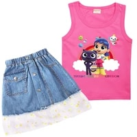 2 15y kids summer clothing set little girls fashion outfit baby girl true and the rainbow print vest lace denim skirt 2pcs sets