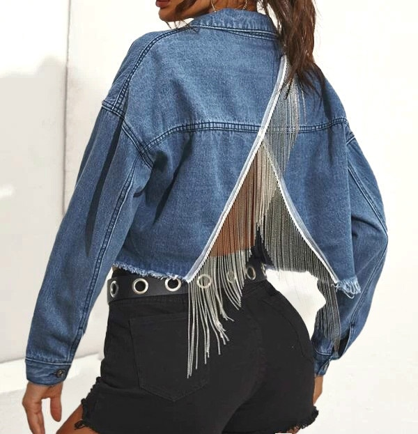 Women Long Sleeve Slim Denim Casual Jean Coat Short Jacket Ladies Crop Outwear