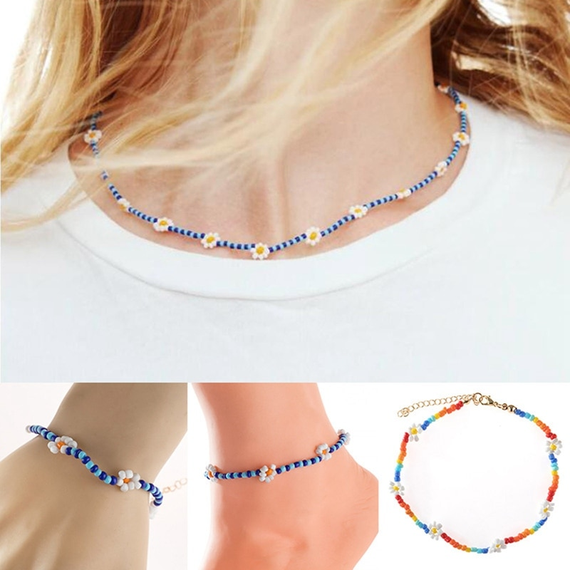 New Korean Cute Flowers Daisy Bracelets Transparent Colorful Beaded Handmade Elastic Wristband For Women Jewelry Dropshipping